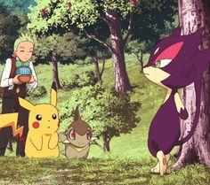 Cilan, Pikachu, Axew, and Purrloin