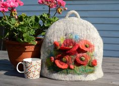 Handmade wool felted Tea Cozy Red poppies exclusive by NORDICFELT, €39.00