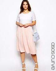 ASOS CURVE Full Skater Skirt In Longer Length