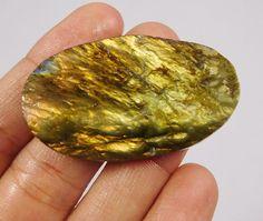 105 Cts. 100% Natural Yellow Flashy Labradorite Druzy Loose Cab Gemstone NI67 #Handmade
