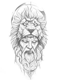 Half Sleeve Tattoo Stencils, Half Sleeve Tattoos For Guys, Zeus Tattoo, Tattoo Now, Lion Tattoo Design, Tattoo Design Drawings, Warrior Tattoos, Viking Tattoos, Sketch Style Tattoos