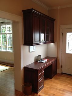 A nice home office in the kitchen matching the existing cabinets perfectly.