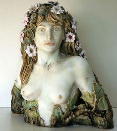 Oak tree Wood Nymph ceramic stoneware sculpture ... 35cm long x 25cm high