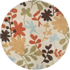 Hand-tufted Retro Chic Ivory Rug (8' Round) - Overstock™ Shopping - Great Deals on Round/Oval/Square