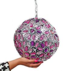 """Light up your room with this fab """"Flower Jeweled Orb"""" - http://www.wakeupfrankie.com/Products/444/1652/Lighting/Flower+Jeweled+Orb+-+50+off+"""