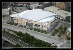 Aerial of Quicken Loans Arena in Downtown Cleveland, Ohio