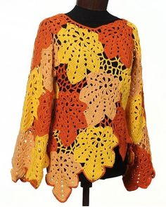 Bravowill Long Sleeve 1 Yellow Women Tops V Neck Casual Knitted Color-Block Tops – bravowill Col Crochet, Crochet Poncho Patterns, Crochet Fall, Crochet Shirt, Crochet Jacket, Freeform Crochet, Irish Crochet, Easy Crochet, Crochet Clothes