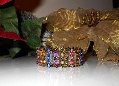 Vintage Multi Colored Rhinestone Stretch Bracelet by Gallery122