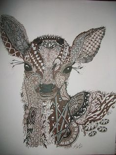 Baby Deer zentangle drawing on Etsy, $30.00