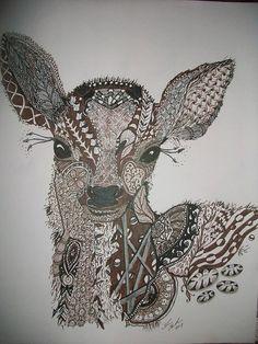 Baby Deer zentangle drawing on Etsy, $30.00