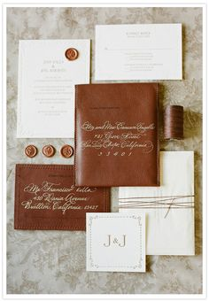 jose villa's masculine wedding invitation with leather Wedding Invitation Trends, Wedding Stationary, Event Invitations, Brown Wedding Invitations, Invitations Online, Unique Invitations, Invitation Set, Safe The Date, Masculine Wedding