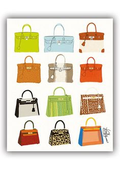 b5d0797594bf Hermes Birkin   Kelly - Fashion Illustration Print Fashion Print Fashion  Art Fashion Wall Art Fashio