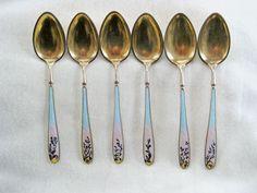 Antique Gustav Gaudernack Sterling Enamel Norway Cased Tea Set Spoons Strainer Sugar Tongs