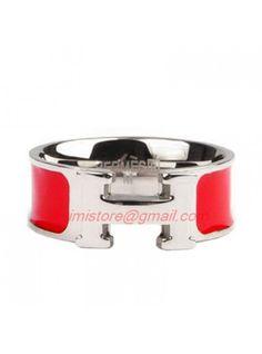Hermes Red Enamel Clic H Ring White Gold