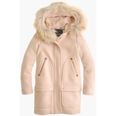 J.Crew Chateau Parka ($475) ❤ liked on Polyvore featuring outerwear, coats, j crew coat, j.crew, pink parka, parka coat and hooded coats