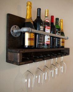 Wine and glass rack - commercial architecture - Schnaps Wine Glass Shelf, Wine Glass Rack, Wine Rack Wall, Glass Shelves, Wine Glass Storage, Diy Pipe Shelves, Wine Shelves, Bar Shelves, Industrial Wine Racks