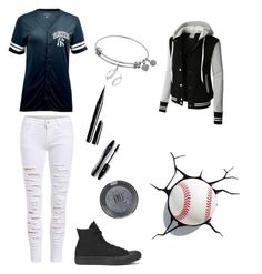 """baseball"" by marissamg ❤ liked on Polyvore featuring LE3NO, Converse, Marc Jacobs, Lancôme and Topshop"