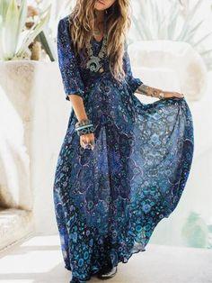 Blue Printed V-neck Bohemia Maxi Dress