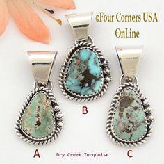 Petite Dry Creek Turquoise Sterling Pendant Navajo Artisan Alice Johnson NAP-1565 Four Corners USA OnLine Native American Jewelry