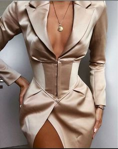 Online Shop Yissang 2019 New Autumn Women Dresses Elegant Professional Mini Woman Suits Dress Blazer Jacket Long Sleeve Outwear Outfit Mode Outfits, Dress Outfits, Fashion Dresses, Workwear Dresses, Blazer Outfits, Blazer Fashion, Look Fashion, High Fashion, Womens Fashion