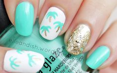Easy Palm Tree Nail Tutorial.. Using a Toothpick!  // elleandish
