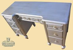 Modern Masters Silver Metallic paint with dark wax used on this vintage writing desk by GadgetSponge.com - Repurposing, Upcycling, Birds & Nature