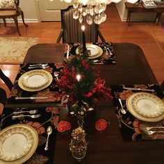 Christmas Eve dining room table setting with Lenox Limoges & Silver!