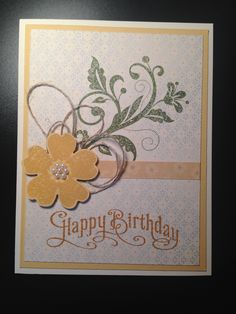 Made with Le Jardin DSP (retired), Perfectly Penned stamp set (retired), Flower Shop stamp set ' Flowering Flourishes. Colors used Delightful Dijon, So Saffron & Mossy Meadow. Embellishments are linen thread & pearls.