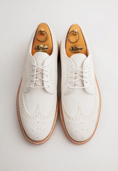 leffot: Alden x Leffot cream nubuck longwings, with or without brass eyelets.
