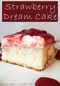 Famous Strawberry Dream Cake Ingredients 1- 8 oz Neufchatel cheese or cream cheese 1 Large box of Strawberry Danish Dessert 1 Pint Heavy Whipping Cream 1 teaspoon Vanilla extract (Mexican is the best) 2 Containers or boxes of frozen strawberries cut and stored with sugar 2 Cups Powdered Sugar  Read more at http://livelikeyouarerich.com/famous-strawberry-dream-cake/#aTWjYraofxV4puQ5.99