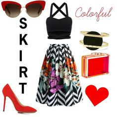 Colorful outfit with a maxi skirt #outfit #fashion #polyvore @whatinfasion