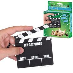 """The Cat Video Clapperboard makes your cat feel like a star! You need to take the YouTube and Facebook videos of your cat to the next level. To get that standard of quality will require multiple takes, which means you'll want this clapperboard. This tiny 4"""" x 3-1/2"""" wood clapperboard is the perfect thing to mark the takes of your kitty doing adorable things. Not that your cat ever needs to do a second take—everything she does is perfect and adorable. You can even write kitty's name in chalk…"""