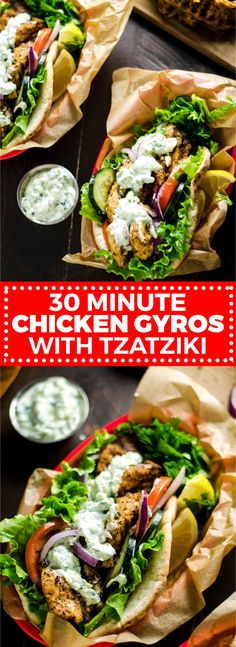 30 Minute Chicken Gyros with Tzatziki. These super easy-to-make Greek-style sandwiches are filled with lemony chicken and cooling cucumber tzatziki. Perfect for a weeknight! 30 Minute Chicken Gyros with Tzatziki - Greek Dishes, Main Dishes, Chicken Gyros, Tzatziki Chicken, Chicken Wraps, Pita, Cooking Recipes, Healthy Recipes, Healthy Greek Recipes