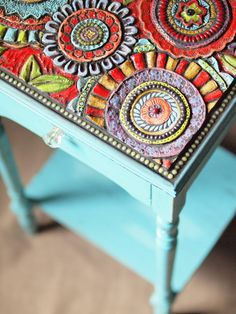 Mosaic Side Table in Turquoise - One of a Kind Vintage Table embellished with Colorful Floral Handmade Clay Tiles & Semiprecious Stones on Etsy, $335.00