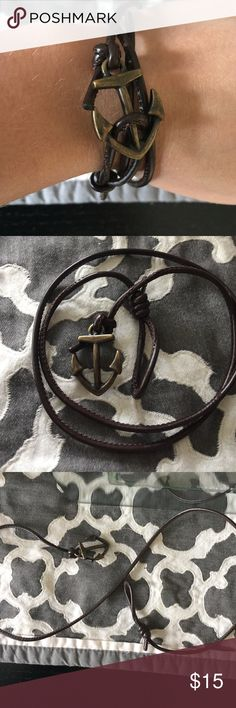 New anchor bracelet Brand new never worn except for in the pic brown leather rope bracelet with a rustic gold anchor charm Accessories Jewelry
