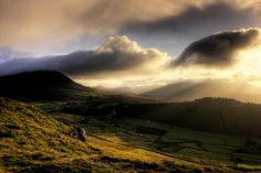 morning sunlight on the Mourne Mountains in northern Ireland