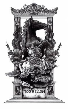 The Final Illustration of Poseidon, Greek God of the Sea. www.illustrationking.tumblr.com