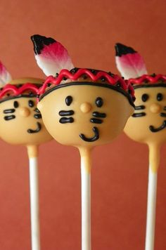 Indians (Cake Pops) - For all your cake decorating supplies, please visit craftc. Cowboy Party, Cowboy Birthday, Indian Birthday Parties, Carnival Birthday Parties, Thanksgiving Cake Pops, Indian Cake, Indian Party, Cake Pop Designs, Wild West Party