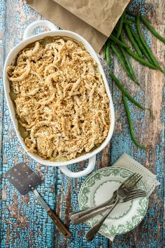 Green Bean Casserole with Onion Ring Style Topping | Keepin' it Kind