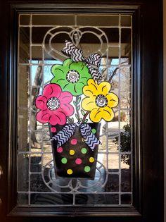 Spring Flower Pot Door Hanger by Disideas on Etsy, $45.00 Canvas Door Hanger, Burlap Door Hangers, Summer Crafts, Holiday Crafts, Summer Fun, Burlap Crafts, Diy Crafts, Flower Wall, Flower Pots
