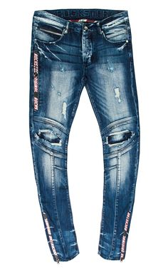 Cotton Elastane Medium Blue Wash Minimal Distressing Printed Zippers Dry Clean Only Biker Jeans, Denim Jeans Men, Boys Jeans, Club Dresses, Joggers, Skinny, Pants, Fashion, Bermudas