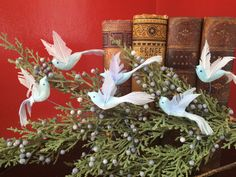 SOLD - Vintage Spun Cotton Birds Easter Christmas Putz Ornament Decoration Japan NOS