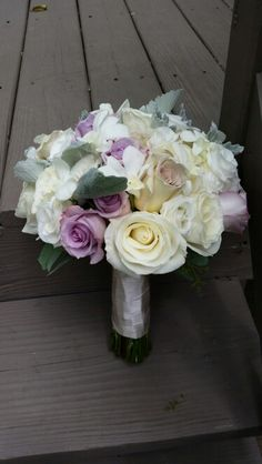 Lavender and gray bridal bouquet!