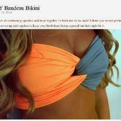 DIY BANDEAU: take two pieces of contrasting spandex, twist together and tie in the back!