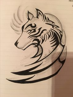 Tribal Tattoos, Geometric Wolf Tattoo, Tribal Drawings, Tribal Wolf Tattoo, Cool Art Drawings, Wolf Tattoos, Body Art Tattoos, Celtic Tattoos, Rune Tattoo