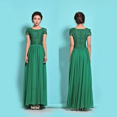 Green Lace Chiffon Maxi Dress - Green Evening Dress