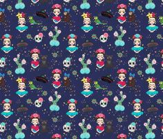 Frida in Blue fabric by koko_bun on Spoonflower - custom fabric Blue Fabric, Custom Fabric, Spoonflower, Fabric Design, Gift Wrapping, Wallpaper, Prints, Pattern, Anime