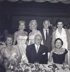 Betty Grable, Marilyn Monroe, Jane Russell and Lucille Ball at an event, 1950s