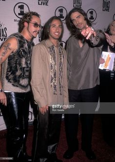 Singers A.J. McLean, Howie Dorough and Kevin Richardson of the Backstreet Boys attend the VH1 Concert Special 'Divas Live: The One and Only Aretha Franklin' on April 10, 2001 at Radio City Music Hall in New York City.