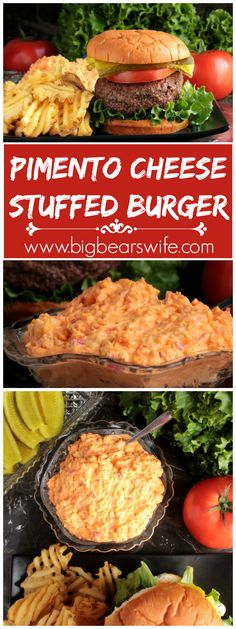 pound burgers that are piled high with your favorite burger toppings and stuffed with pimento cheese! Plus a link to some great homemade pimento cheese Burger Toppings, Cheese Burger, Burger Menu, Pork Burgers, Gourmet Burgers, Turkey Burgers, Veggie Burgers, Hamburgers, Beef Recipes
